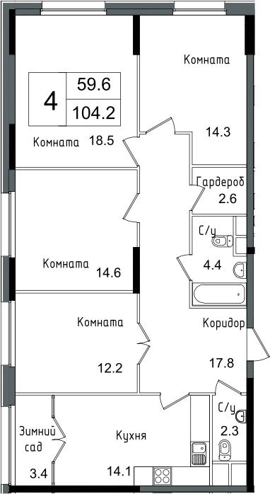 4-комнатная, 104.2 м²– 2
