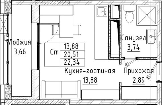 Студия, 22.34 м²– 2