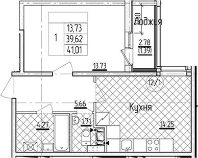 1-к.кв, 41.01 м²