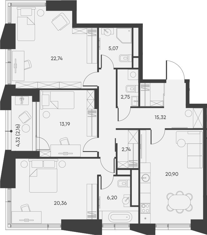 4Е-комнатная, 111.43 м²– 2