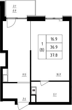 Студия, 37.8 м²
