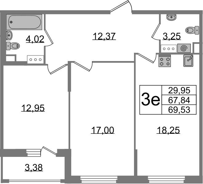 3-к.кв (евро), 71.22 м²