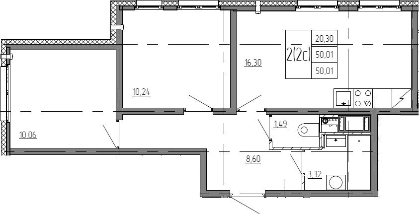 3Е-к.кв, 50.01 м²