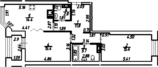 2-к.кв, 66.6 м²