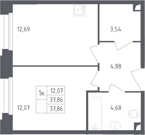 1-комнатная, 37.86 м²– 2