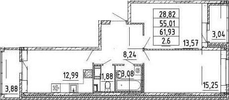 2-комнатная, 54.68 м²– 2