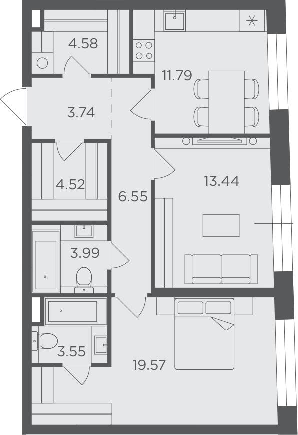 2-к.кв, 71.73 м², 3 этаж