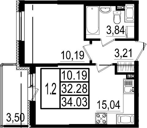 2-к.кв (евро), 35.78 м²