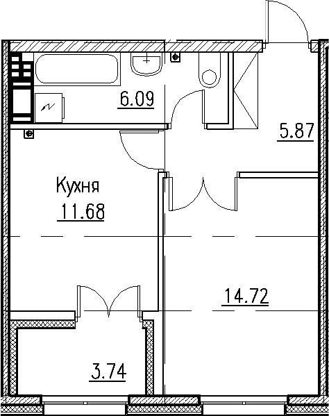 1-к.кв, 38.36 м²