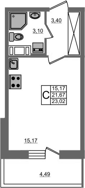 Студия, 26.16 м²