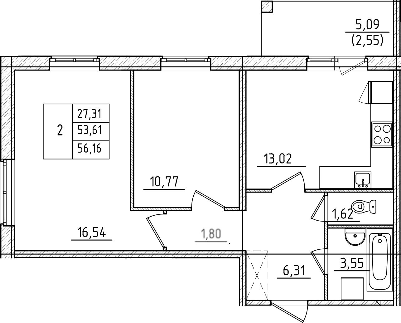 2-к.кв, 56.16 м², 1 этаж