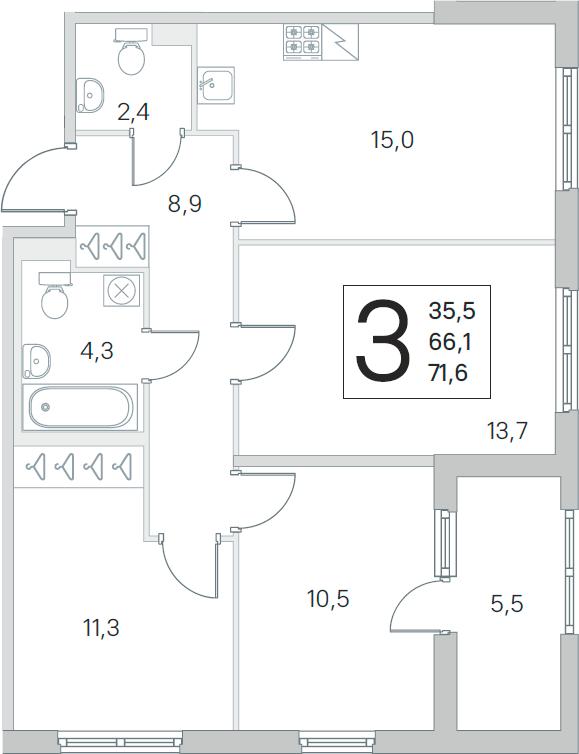 4Е-к.кв, 66.1 м², 2 этаж