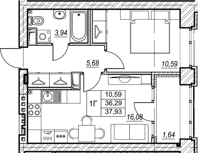 1-к.кв, 37.93 м², 3 этаж