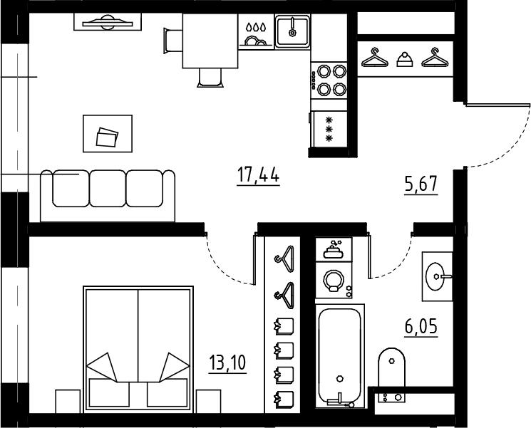 2Е-комнатная, 42.26 м²– 2