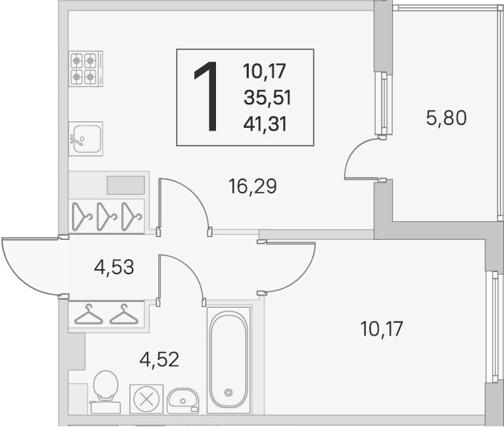 2Е-комнатная, 35.51 м²– 2
