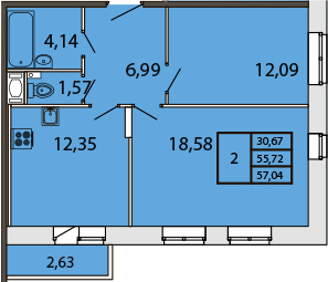 2-к.кв, 58.31 м²