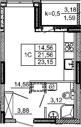 Студия, 23.15 м², 2 этаж