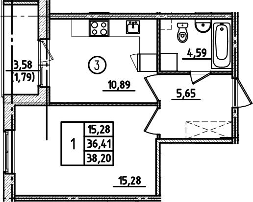 1-к.кв, 38.2 м², 1 этаж