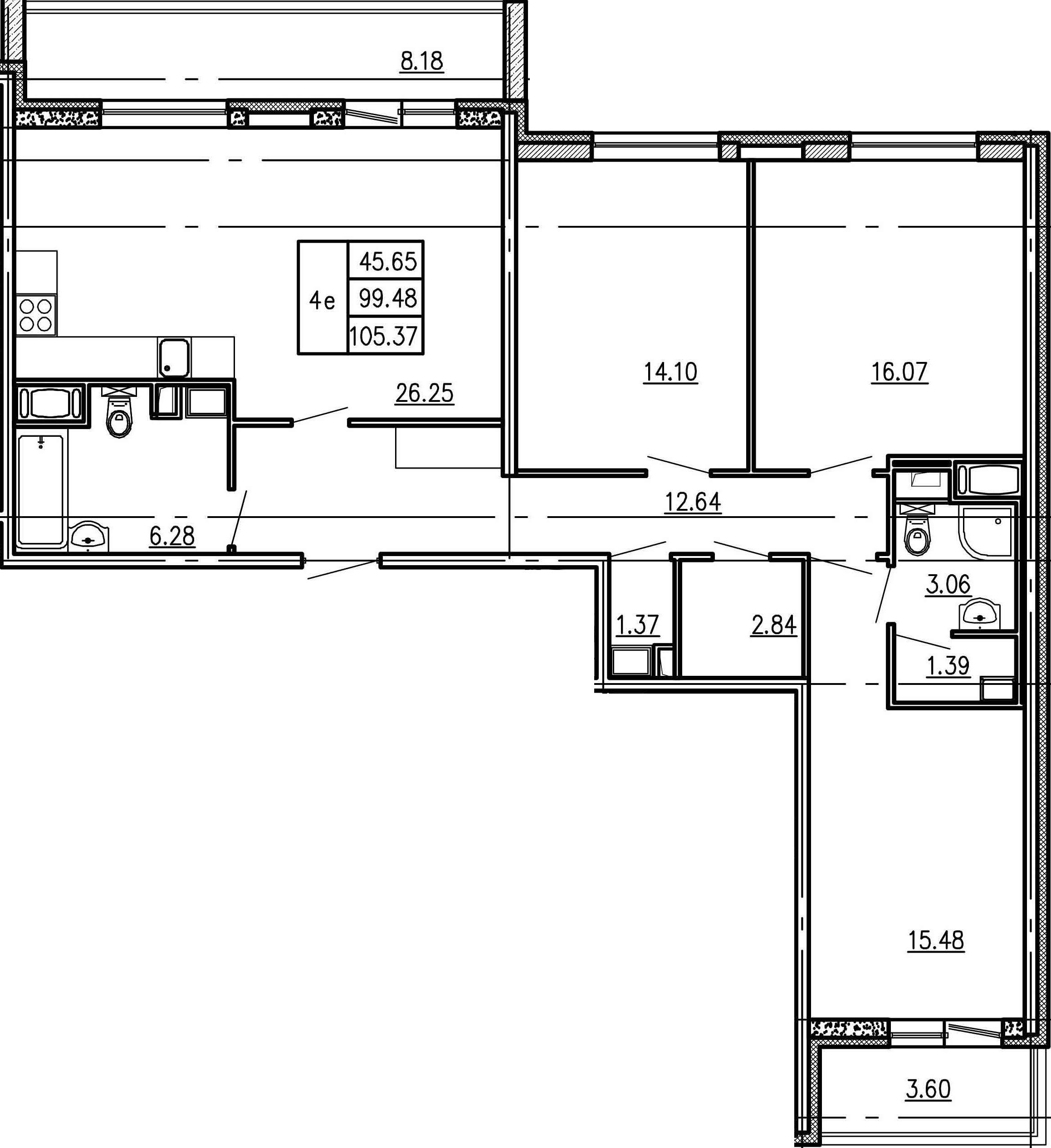 4Е-к.кв, 99.48 м²