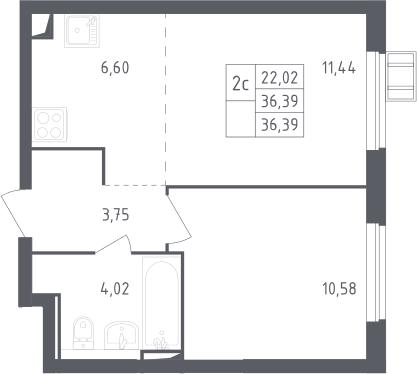 2Е-комнатная, 36.39 м²– 2