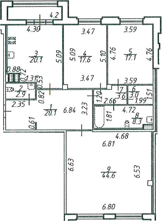 3-комнатная, 139.4 м²– 2