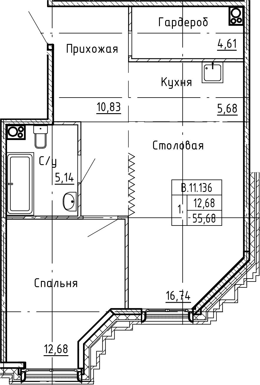 2Е-комнатная, 55.68 м²– 2