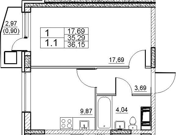 1-комнатная, 36.15 м²– 2