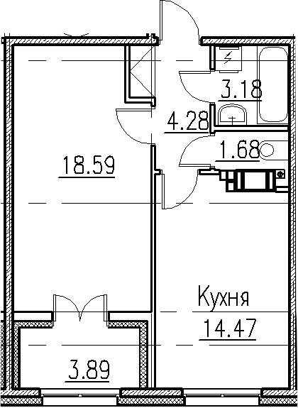 1-к.кв, 46.02 м²