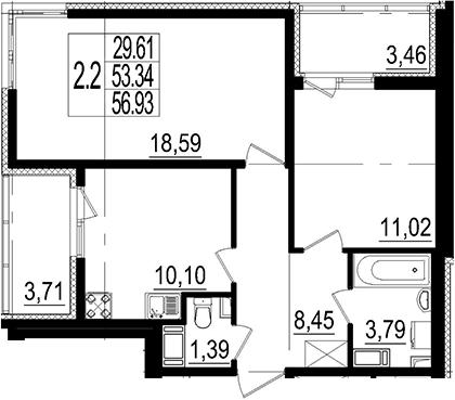2-к.кв, 56.93 м²