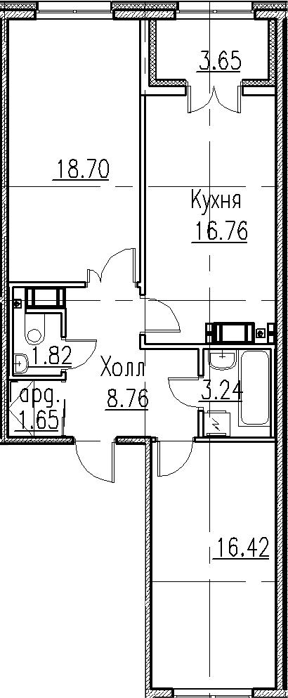 3-к.кв (евро), 71 м²