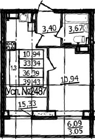 2Е-к.кв, 33.34 м²
