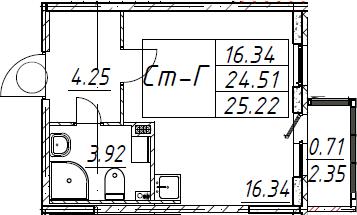 Студия, 25.22 м²– 2