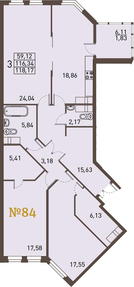 3-к.кв, 122.45 м²