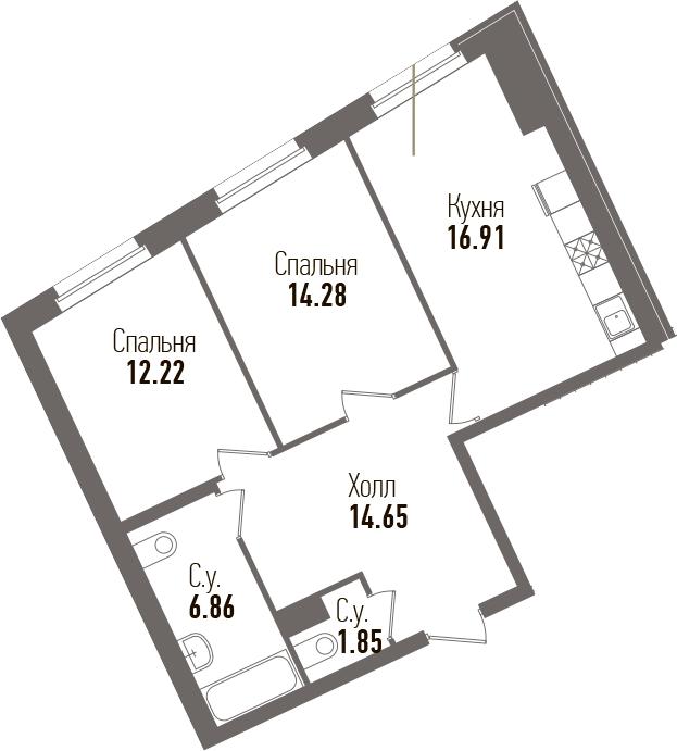 3-к.кв (евро), 64.81 м²
