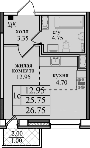 Студия, 27.75 м²