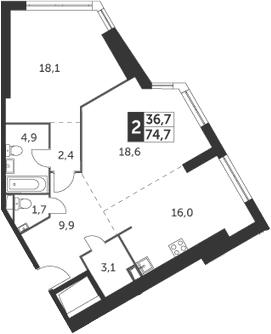 2-комнатная, 74.7 м²– 2