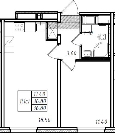 2Е-комнатная, 36.8 м²– 2