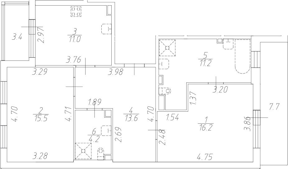 2-к.кв, 71.7 м²