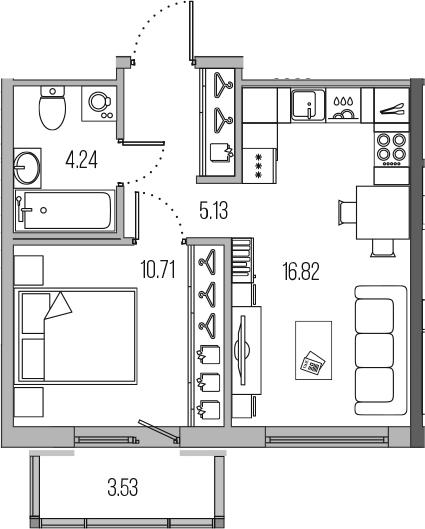 2-к.кв (евро), 40.43 м²