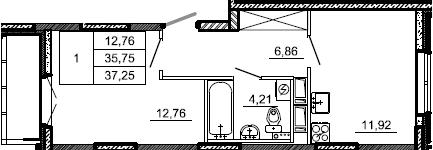 1-комнатная, 37.25 м²– 2