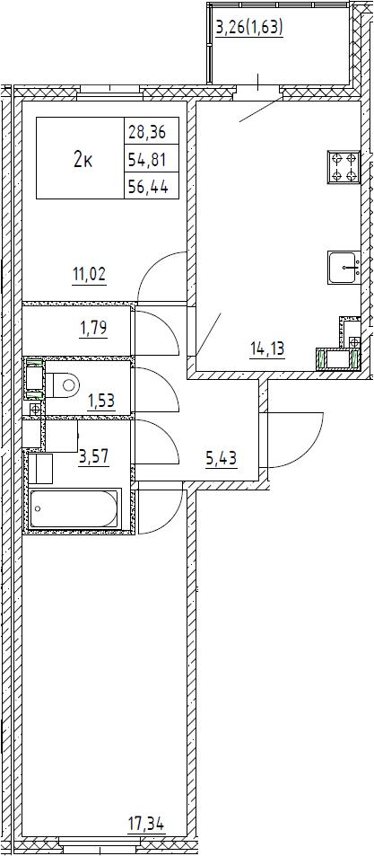 2-к.кв, 56.44 м²