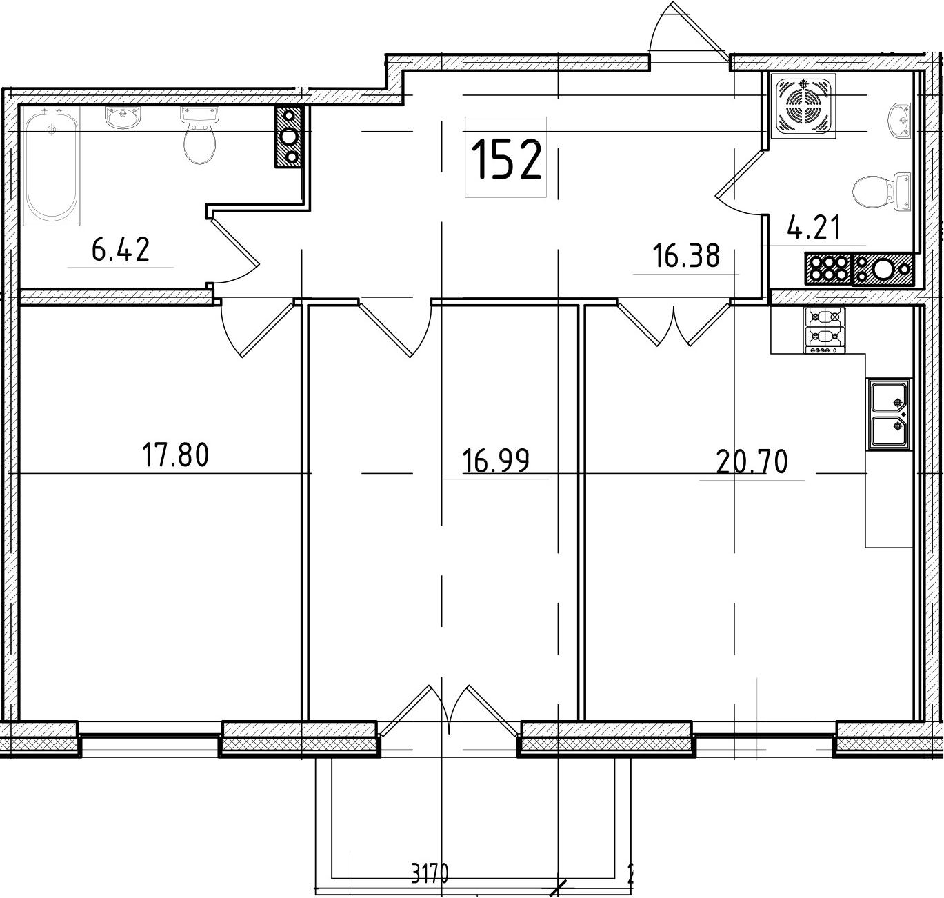 3Е-к.кв, 84.07 м²