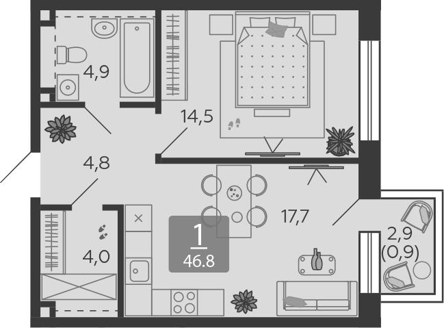2Е-к.кв, 46.8 м², 14 этаж