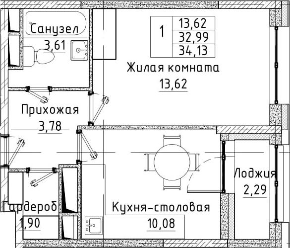 1-комнатная, 34.13 м²– 2