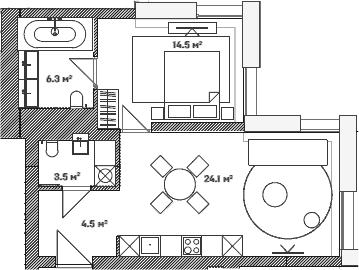 2Е-комнатная, 52.9 м²– 2