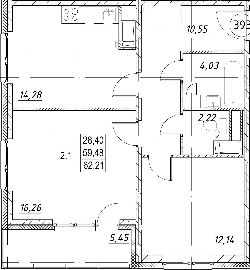 2-к.кв, 64.93 м²