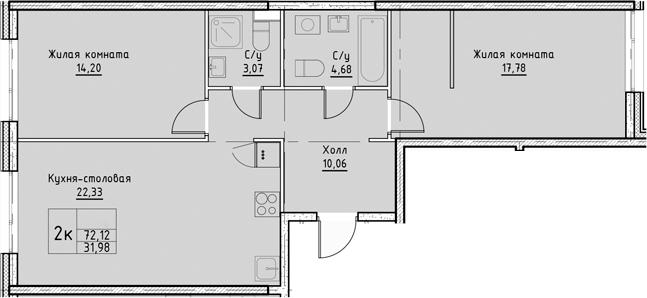 3Е-комнатная, 72.12 м²– 2