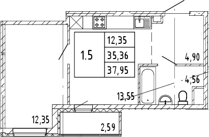 2Е-комнатная, 35.36 м²– 2