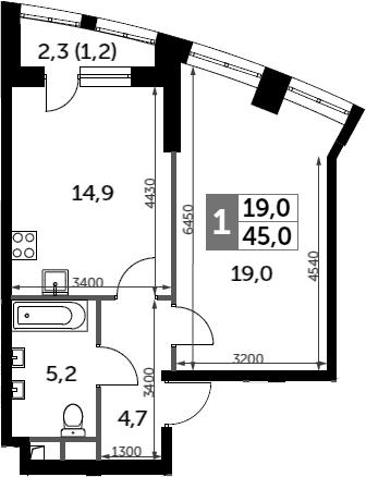 1-к.кв, 45 м²