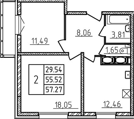2-к.кв, 57.27 м²